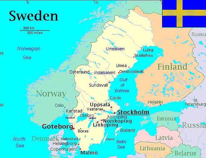 瑞典地图,瑞典地图高清中文版