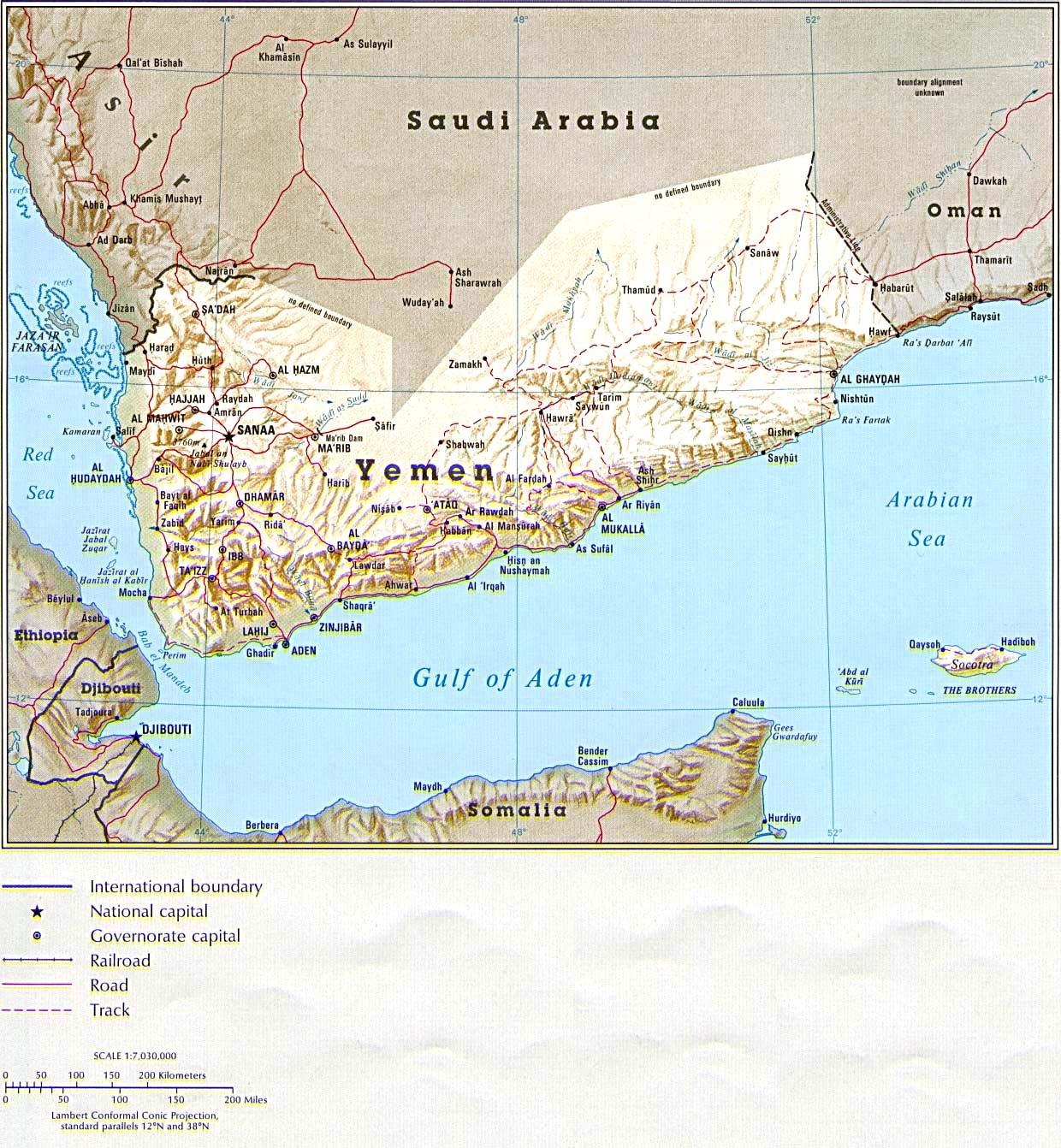 也门共和国地图